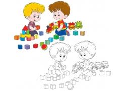 堆积木的儿童卡通画图片