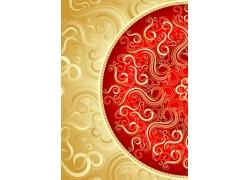 金色与红色花纹背景