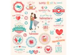 情人节插画标签图片