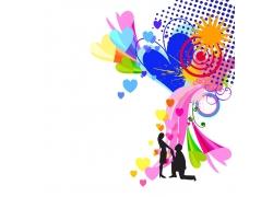 彩色花纹与情侣
