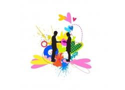 彩色喷墨与情侣