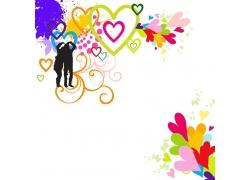 彩色心形与情侣