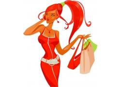 购物的性感美女插画图片