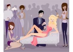 化妆造型的性感美女插画图片