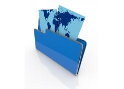 文件夹和带世界地图的文件