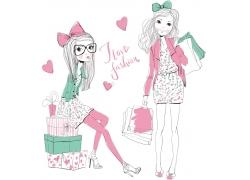 购物的时尚女孩图片