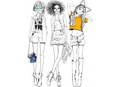 手绘时尚女孩图片