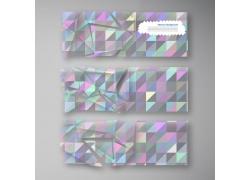 炫彩晶体几何图案横幅设计