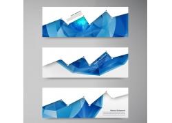 蓝色折线点式横幅设计