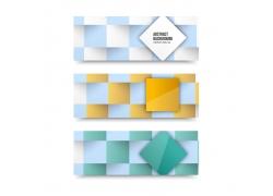 新颖彩色方块组合横幅设计