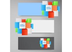 彩色立体方块点缀的横幅