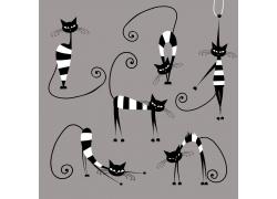 卡通黑白猫咪图片