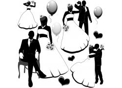 黑色卡通婚礼人物
