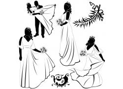 手绘穿婚纱的新娘