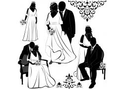 幸福的新娘新郎插画