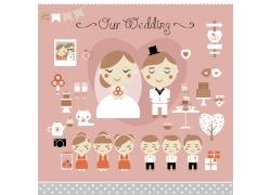 卡通新娘新郎和婚礼物品