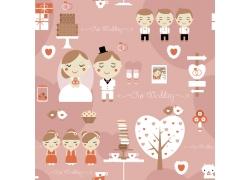 婚礼主题人物和用品卡通画图片