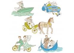 坐各种交通工具的新人插画
