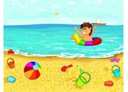 海里游泳的卡通小人