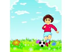 踏足球的卡通人物图片