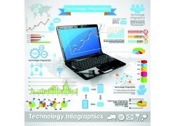 笔记本电脑商务图表
