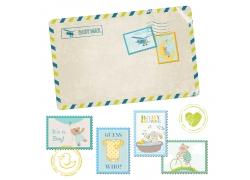 可爱复古风格的邮票和信封