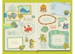 海底动物插画图片