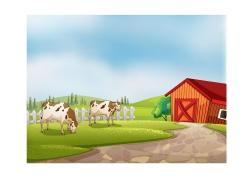农场的牛和房屋卡通画图片