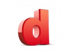 3D红色英文字母D