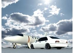 蓝天白云下的汽车飞机摄影