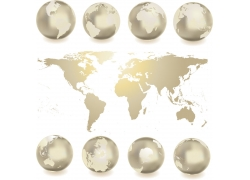 金色地球与世界地图图片