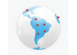 地球和世界地图上的红旗图片