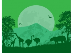 森林里的动物剪影图片