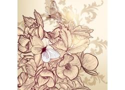 手绘花朵蝴蝶背景素材