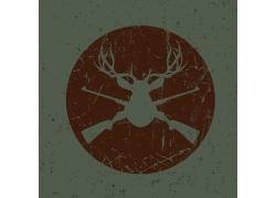猎枪和鹿头复古标签