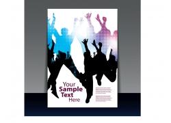 热舞人群剪影宣传封面设计图片