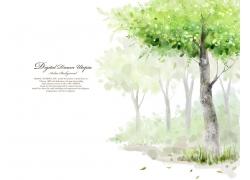 树与落叶卡通插画图片