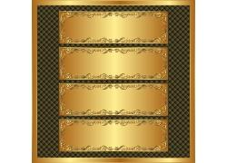 金色带花纹边框金属横条背景