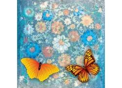 手绘花朵和蝴蝶