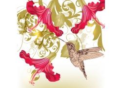 手绘花朵和小鸟
