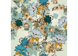 手绘花朵叶子背景素材