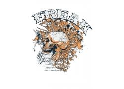 骷髅插画T恤印花设计图片