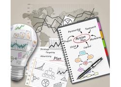 电灯笔记本与信息图表