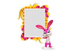 卡通动物与复活节彩蛋