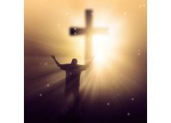 人物十字架和光芒