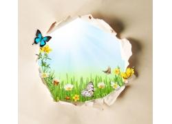 蝴蝶与鲜花草地