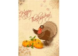 火鸡和南瓜感恩节宣传海报