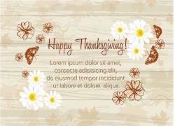 矢量花朵蝴蝶图案感恩节宣传海报图片