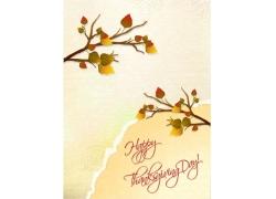 感恩节树枝树叶