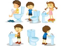 上厕所的卡通儿童图片